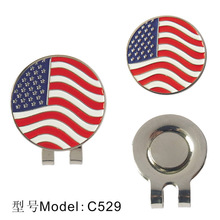 2016 New arrival, golf ball marker and hat clip, american flag design,10pcs/lot, free shipping(China (Mainland))