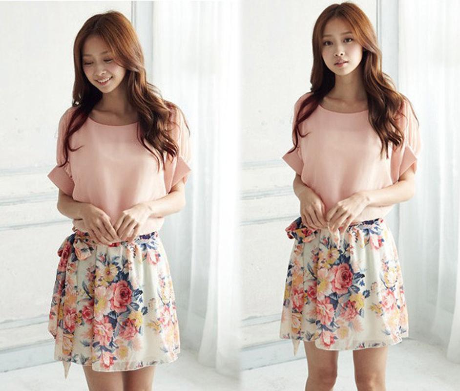 New Fashion 2014 Pink White*Dress Summer Charming Crewneck Chiffon Sleeve Mini Dress Plus Size 2 colorsОдежда и ак�е��уары<br><br><br>Aliexpress