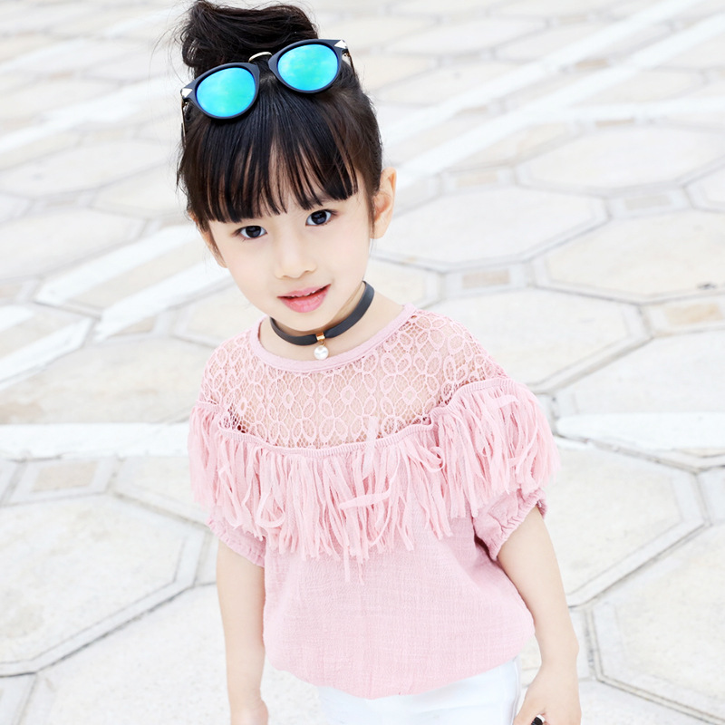 summer baby girls hollow lace blouse children polyester short sleeve tassels white blue pink kids casual waisted t shirt FE139(China (Mainland))