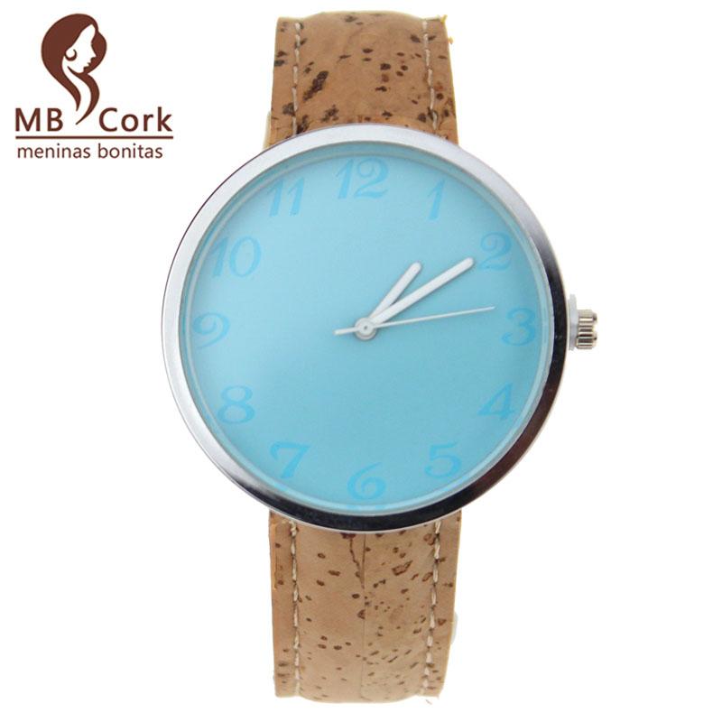 MB Cork Black blue surface Men women cork watch waterproof Japanese movement Brown wrist watch Quartz Casual reloj Wa-35(China (Mainland))