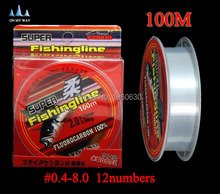 high quality Fishing Line Brand Super Strong Japanese 100m 100% Nylon Transparent Fluorocarbon  Fishing Tackle free shipping 13