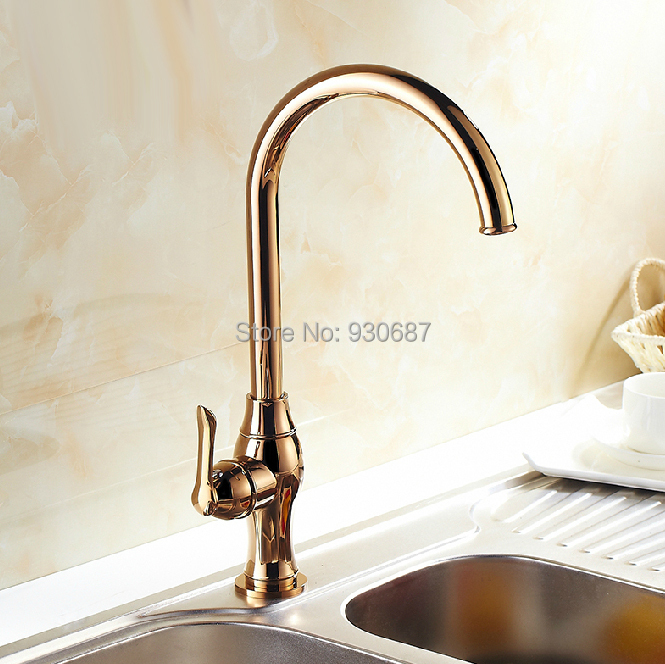 euro style rose gold kitchen faucet rotatable single
