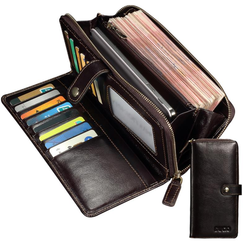 Genuine Leather Men Wallets hasp and zipper Business Male Wallet fashion Purse Cases Card Holder Mobile Phone(China (Mainland))