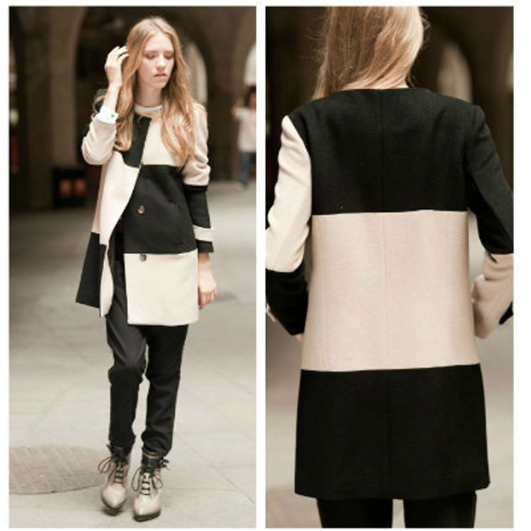 Autumn new women's winter clothing with the United States hit the color black and white plaid wool coat jacket plnky girl with m(China (Mainland))