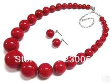 Women's jewelry red coral bead necklace earring set(China (Mainland))