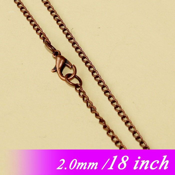 2mm Metal Jewelry Curb Links For Pendants Women 18 Vintage Copper Tone Fashion Necklace Chains With Lobster Clasps Findings diy<br><br>Aliexpress