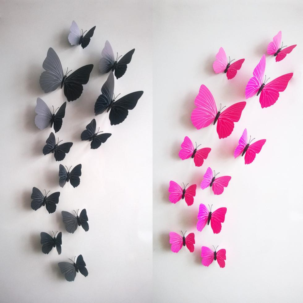 12 3D Stereo Color Butterfly Home Accessories Bedroom TV Background With Glue Gift Home Wall Sticker Decals Decor(China (Mainland))