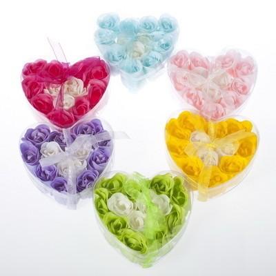 12pcs Bath Body Flower Heart Soap Rose Petal party Gift Wedding Favor Mix Color