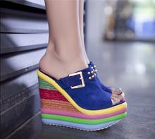 2015 new wedges shoes platform summer heavy-bottomed small rivets leather fish lips Ladies slippers wholesale size 31--40(China (Mainland))