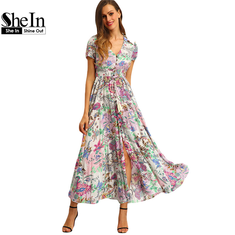 SheIn Multicolor Floral Print Button Split Front Flare Beach Wear Maxi Dress Women Short Sleeve V Neck Long Dress(China (Mainland))