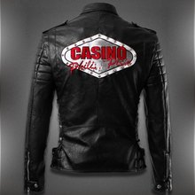 Luxury Brand Clothing 2015 Punk Skull Pattern men casual leather jacket mens biker jacket motorcycle jaqueta couro man slim coat