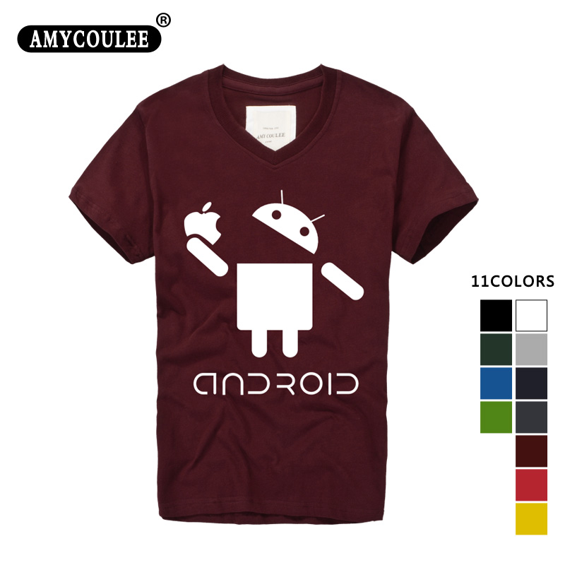 Fashion Men T Shirts Android Robot Male t-shirt apple humor logo printed funny t shirt short sleeve V-Neck Casual Ringer Tees(China (Mainland))