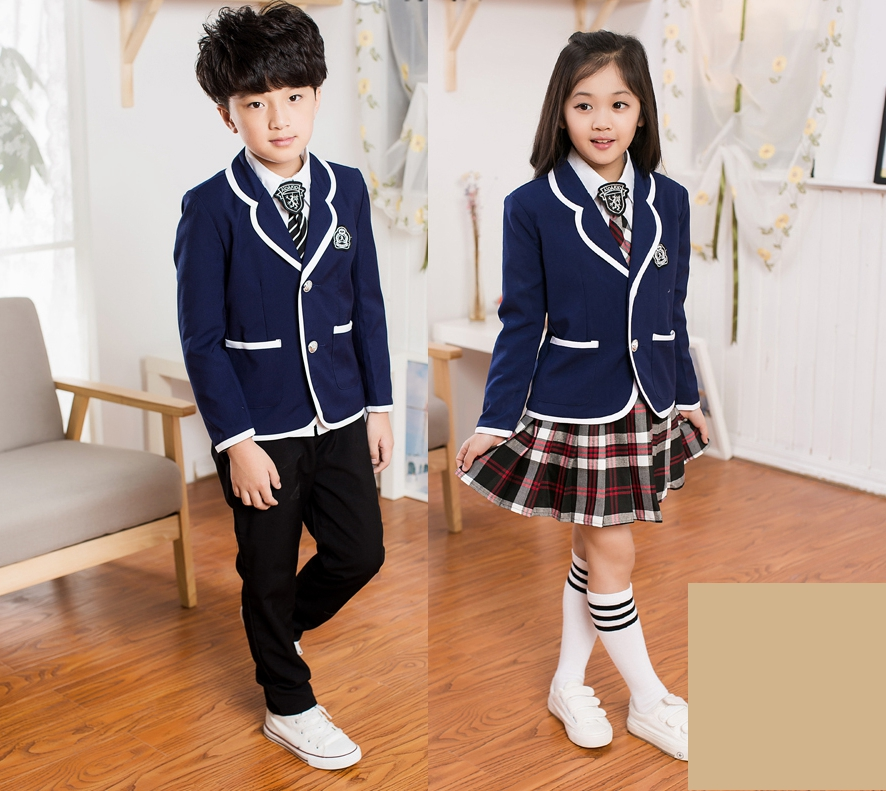 children's school uniform clothing and long sleeved chorus of primary school students reading British student school uniforms(China (Mainland))