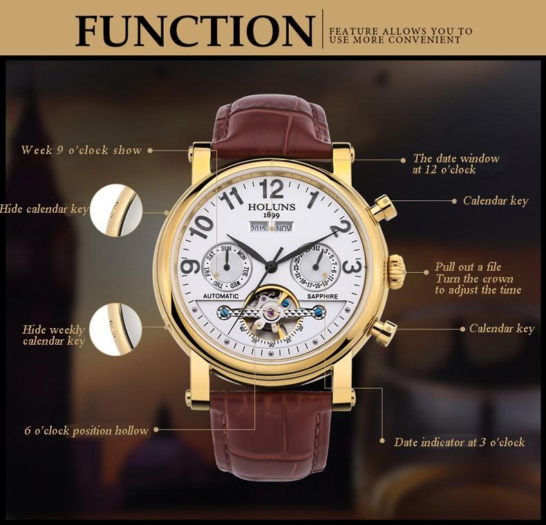 Горячее сбывание 2016 аутентичные модного бизнеса мужские механические часы полые водонепроницаемый кожаный ремешок роскошные минималистский атмосфера