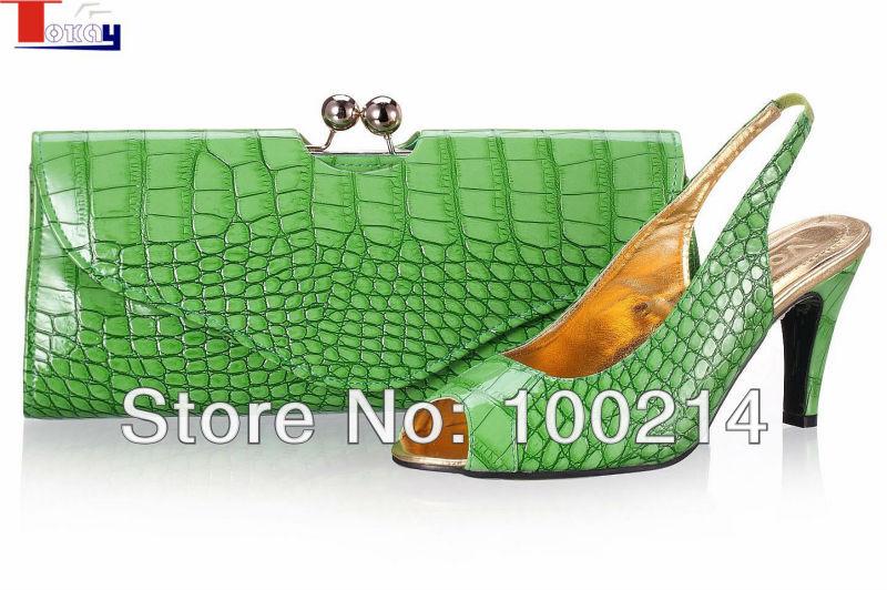 !italian design woman shoe matching bag set wedding,PU material,green,Size40-43,SB8750 - Guangzhou Tokay Trading Co., Ltd. store