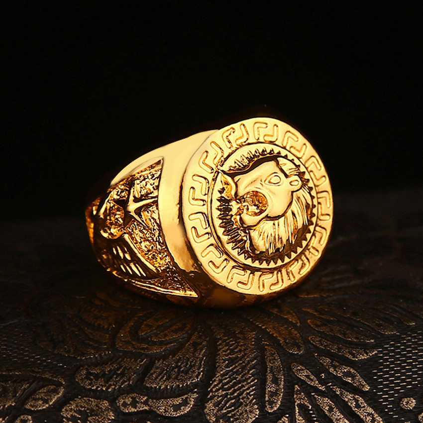 New Lion Anillo Rock Figure Ring Anel Rengas Hip-Hop Gold Plated Rings for Men or Women Head Hiphop Trendy Ring Jewelry(China (Mainland))