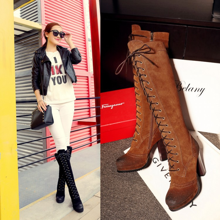 Здесь можно купить  2015 Hottest New Suede Lace Up Knee High Women Boots Leather Thick Heel Motorcycle Boots Shoes Women Botas Mujer Shipping Free  Обувь
