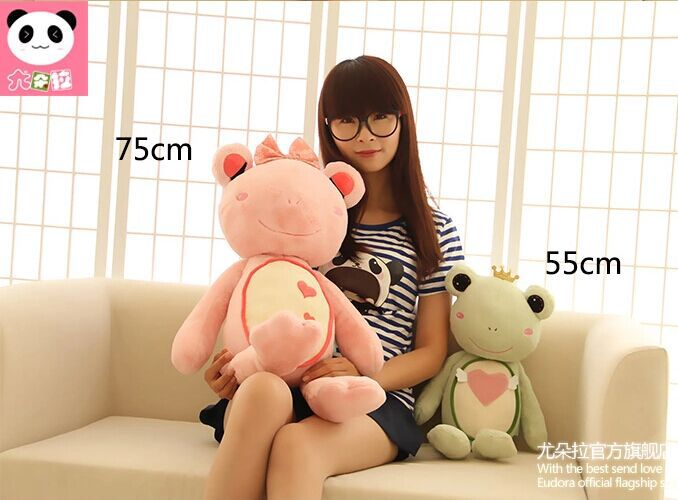 middle size new creative plush pink frog toy cute pink bow frog doll gift about 75cm(China (Mainland))