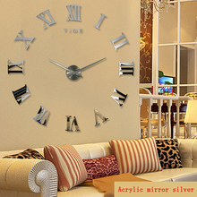 2016 new real large home decorative wall clocks quartz modern design clock watch horloge 3d diy acrylic mirror stickers - Beautiful My Home store