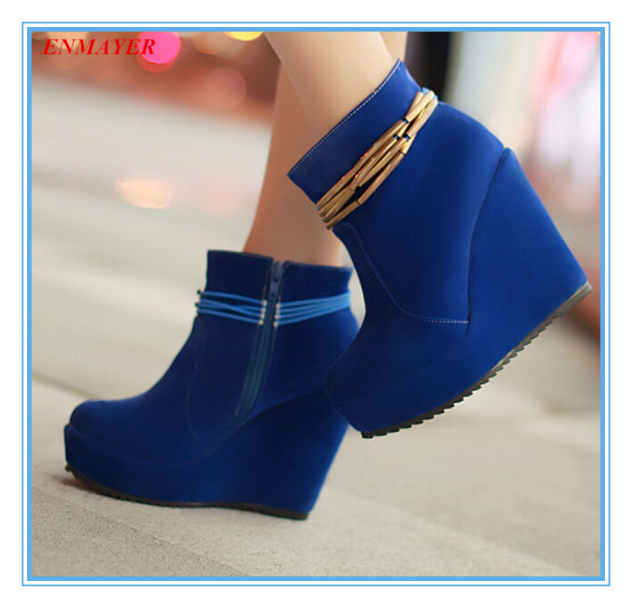 ENMAYER  Fashion ankle boots beautiful solid zip+metal chain  roundToe Wedges for women comfortable Nubuck Leather winter boots<br><br>Aliexpress