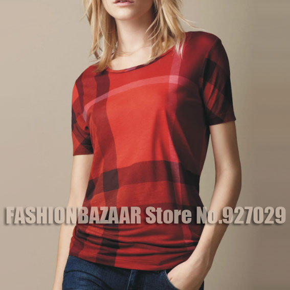 2015 Summer Casual Women T Shirt Women Designer Tops And Tee Summer Cotton Plaid Women's T-shirts Short Sleeve Camiseta Feminina(China (Mainland))
