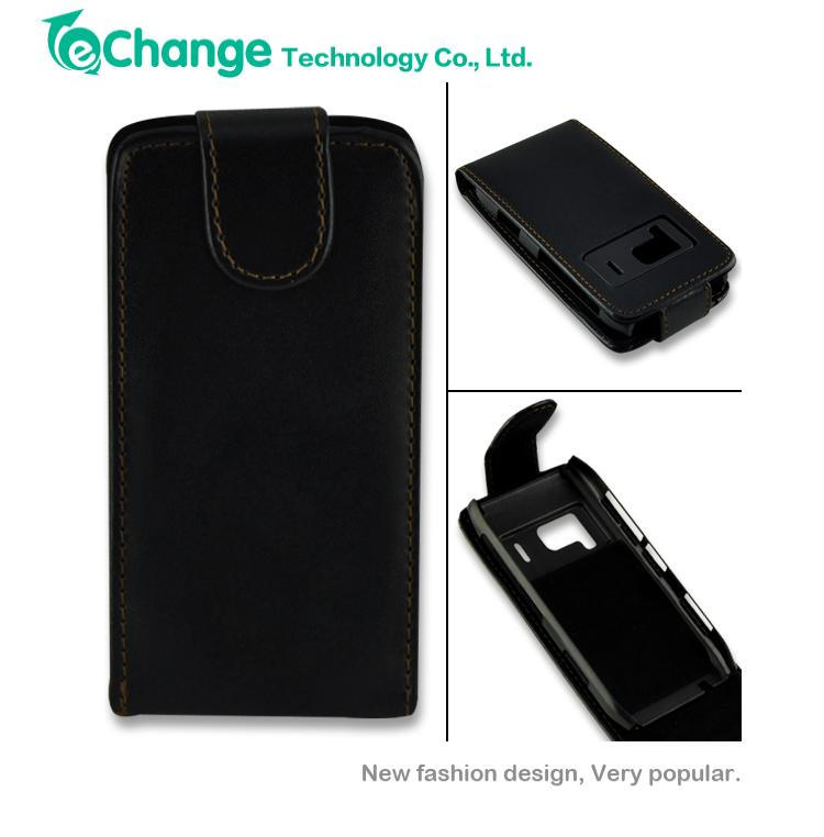 PU Leather Magnetic Flip Phone Case Cover Skin Pouch For Nokia N8 Black EP0178(China (Mainland))