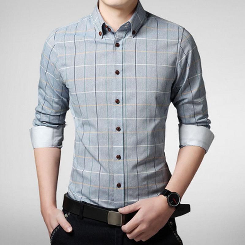 New arrival 2015 spring men shirt lattice design korean for New look mens shirts