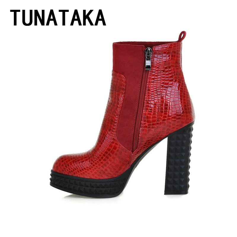Women Fashion Platform Thick Heel Ankle Boots for Women 2015 New Round Toe Winter Boots Shoes Black Red Blue<br><br>Aliexpress