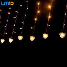 Holiday Lighting 4Mx0.6M Fairy LED Curtain String Heart Romantic Wedding Decoration Lights 220V Garlands Christmas Light Outdoor