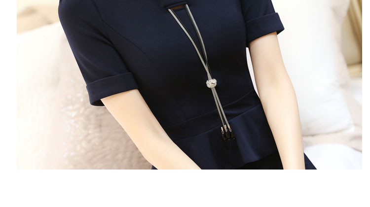 2016 Plus Size Occupation Ladies Dress Bag Hip Bodycon Dress Cascading Ruffle O-neck False Two Piece Straight Work Women Dresses