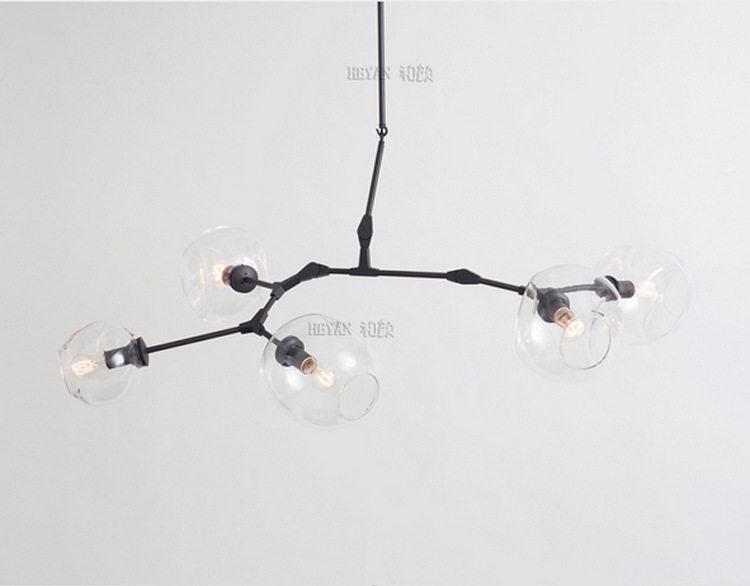 Nordic Style 5 Head Black/Gold Color DNA Lindsey Dining Room Chandelier Glass Cafe Decoration Light Hotel Light Free Shipping <br><br>Aliexpress