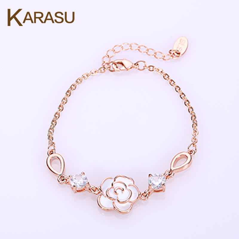 Double Round CZ Diamond Hollow Water Drop Real Rose Gold Plated Rose Flower Chain & Link Bracelet for Women Girls Jewelry(China (Mainland))
