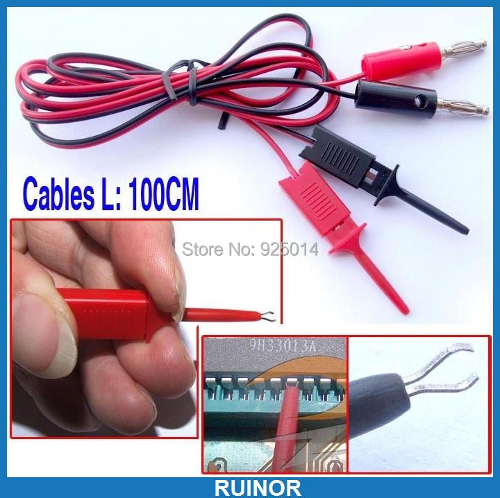 1 set 4MM banana plug Test Hook Clip Cable IC SMT SMD Probes - RUINOR store