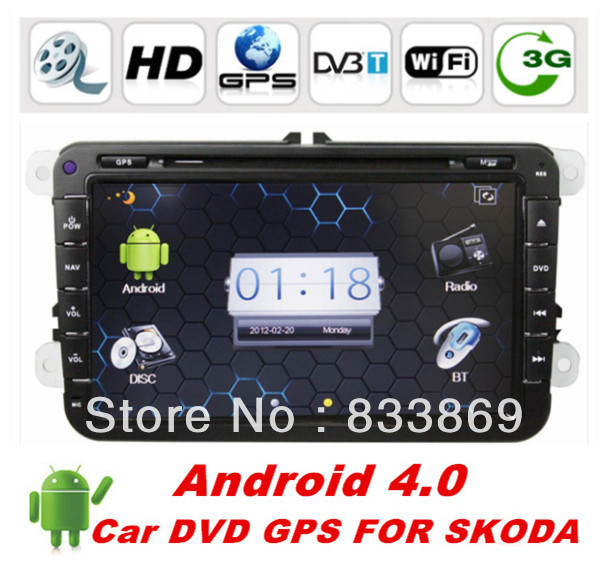 "Android 4.0 2din 8 ""Car Radio CD DVD GPS Navi for VW Passat Golf Polo SKODA Jetta with Radio/RDS Video BT IPOD TV+WIFI dongle(China (Mainland))"