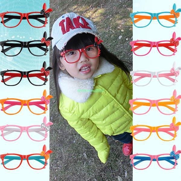 Cute Chic Cartoon Rabbit Ear Bowknot Glasses Spectacle Frame For Kids Children Christmas Decoration EQB539(China (Mainland))