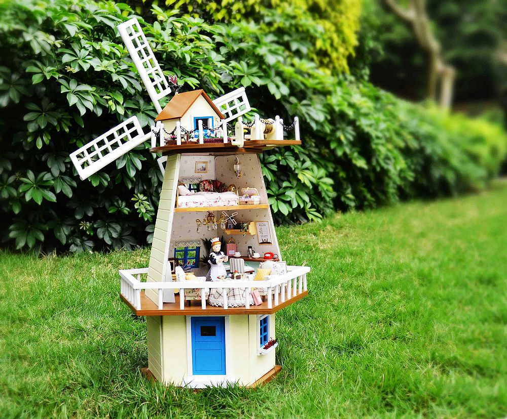 Free Shipping Diy Doll House waiting for manual assembly rotating windmill villa wooden model building monsoon creative gift<br><br>Aliexpress