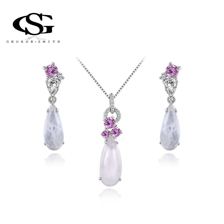 2015 G&amp;S Brand New Year Gift Exquisite Angel Pendant Necklace Platinum Plated CZ Diamonds Fashion Environmental Jewelry Set<br><br>Aliexpress