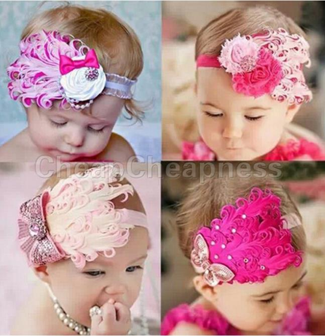 2015 New toddle Head Band fashion design Baby dedicated feather flower modelling of diamond hair band/Hats(China (Mainland))