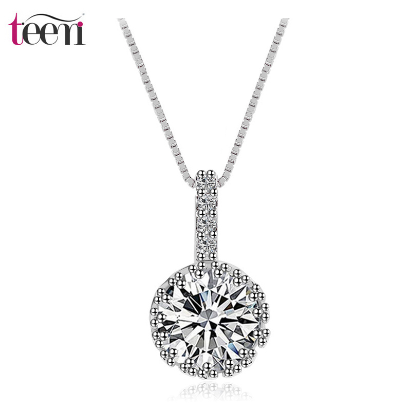 Teemi 2015 New Brand Charm Luxury Rhodium Plated Bling Cubic Zircon Wedding Party Pendant Choker Necklace for Women Wholesale(China (Mainland))