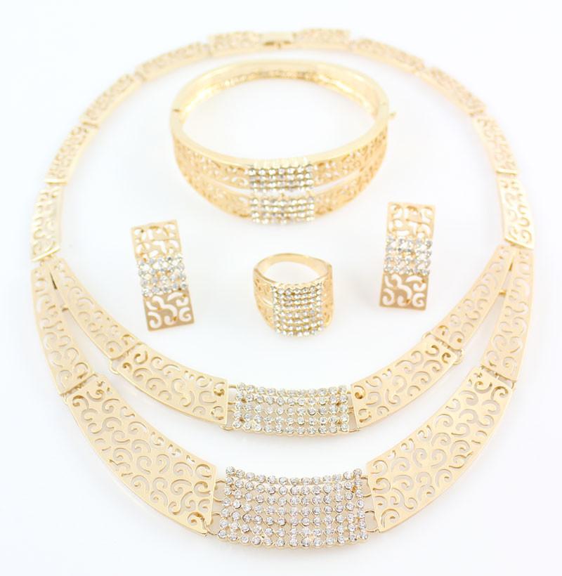 Африканский Костюм Ювелирные Наборы Позолоченный Моды Кристалл Rhinestone Свадебный Люкс Ожерелье Браслет Серьги Кольца