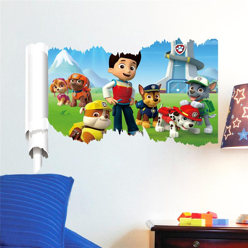 2pcs 15% off 3d dogs wall stickers kids room decor 1462. diy adesivos de paredes home decals animal mural art cartoon poster 2.5(China (Mainland))