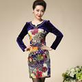 New High Quality Fashion Women Dress Plus Size Blue Color Print Casual Diamonds 2016 Autumn M