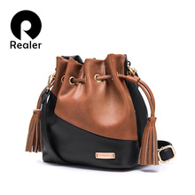 Realer Crossbody Bags Brand Women Panelled PU Leather Bucket Bag New Messenger Bags For Ladies(China (Mainland))