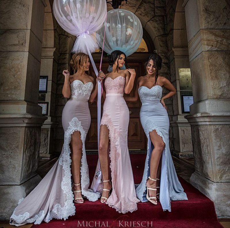 E Marry Mermaid Prom Dress 2016 High Side Slit Lace Edge