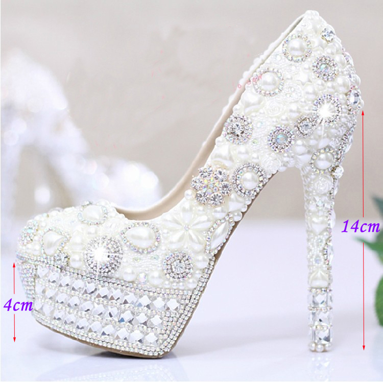 2014 Ecru White Pearls Crystal Luxury Wedding Bridal Dress Shoes Closed Toe Prom Pumps Shoes Wedding Outfit(China (Mainland))