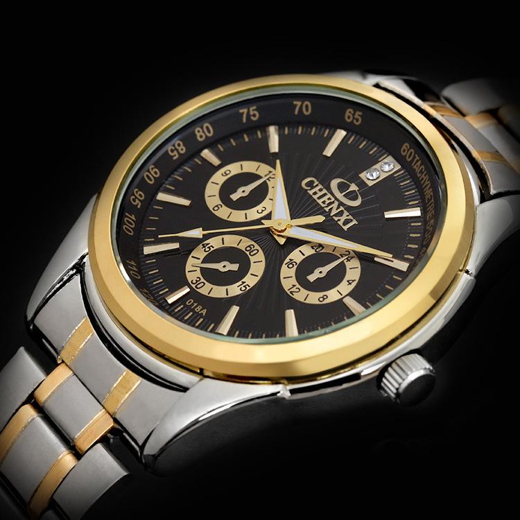 Men Casual Watches Luxury Brand CHENXI Full Steel Band Quartz Dress Wrist watches Lover's Gift Watches waterproof FreeShipping