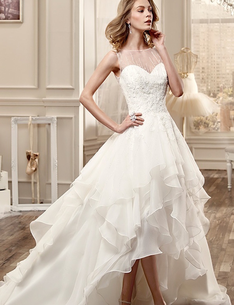 Low Illusion Back Wedding Dress Style 6125 Price : Train wedding dresses buy cheap short front long