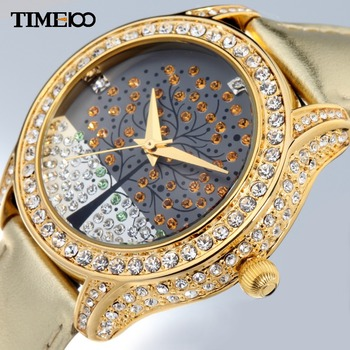 New Time100 Ladies Quartz Watch Wishing Tree Diamond reloj mujer Golden Leather Strap Dress Watch Women Watch relogio feminino