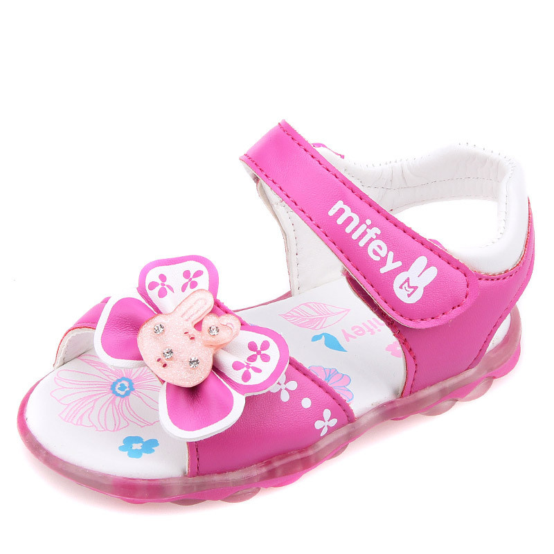 2016 Baby Girls Sandals Princess Shoes Baby Slip-Resistant Comfortable Sandals With Cartoon Picture and Sole Light No.3(China (Mainland))