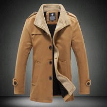 2015 New Fashion British Style Solid Berber Fleece Coat Men Winter Warm Overcoat Worsted Casual Wool Long Jacket 13M0430(China (Mainland))